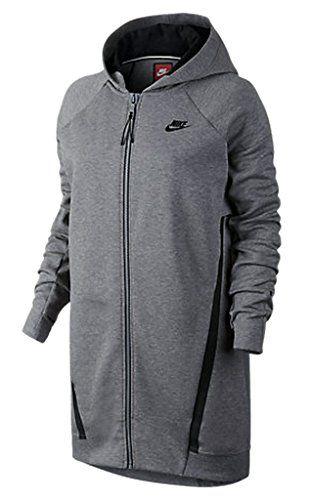 72b1bb12 Nike Women's Tech Fleece Mesh Cocoon Jacket (Carbon Heather, X-Small ...