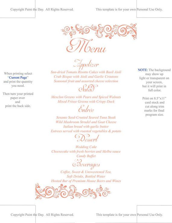 DIY Wedding Menu Template Instant Download Printable Menu Allure