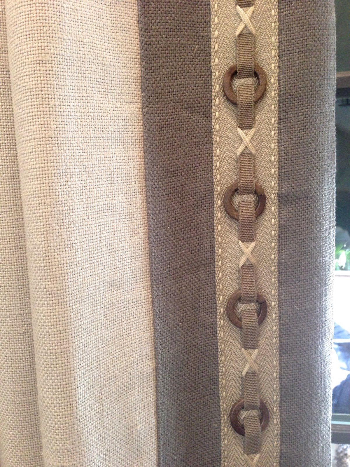 exquisitely bordered trim dresses up rustic fabric draperies drapery detail at the serenbe designer showhouse