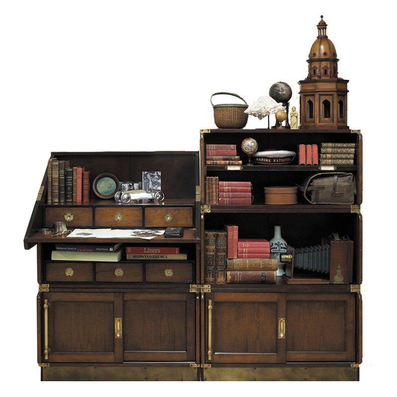 Authentic Models Campaign Drop Down Desk And Bookcase