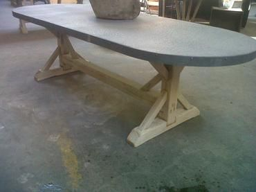 Oval Hammered Zinc Top Dining Table Custom Sizing Available