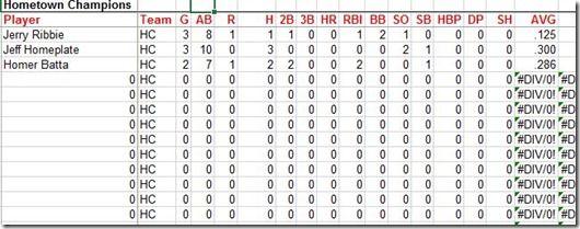 Team Page Team Page Spreadsheet Baseball