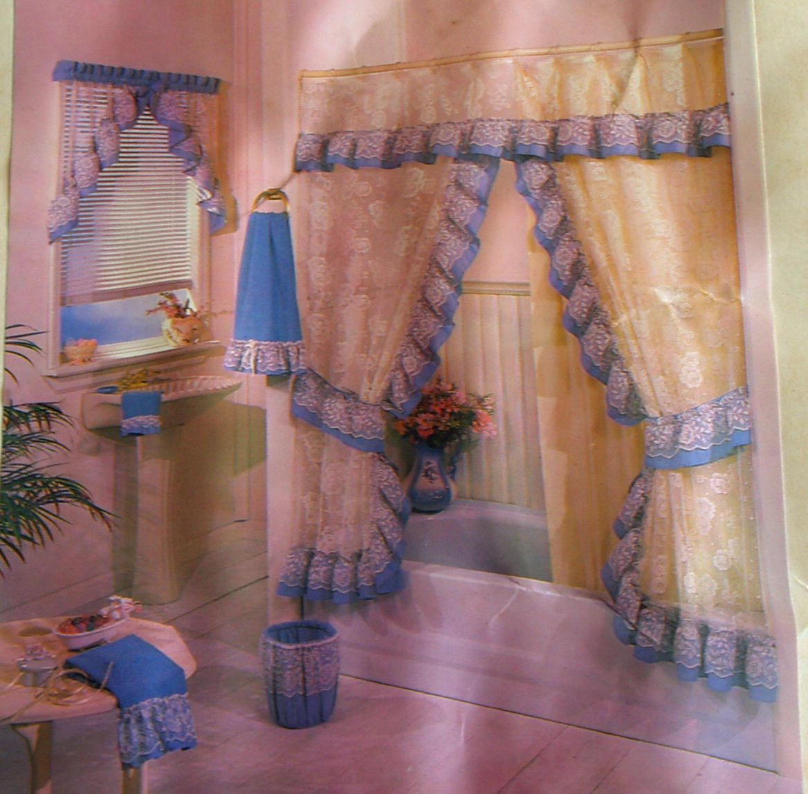 Luxury Vintage Shabby Princess Rose Sheer Lace Double Swag Shower