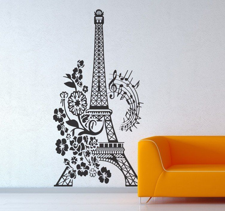 Floral And Musical Eiffel Tower Wall Sticker Wall Stickers