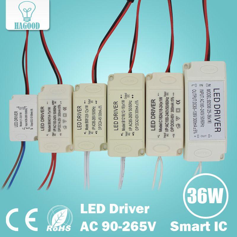 1-3 W 4-7 W 8-12 W 12-18 W 18-24 W 25-36 W Segura Carcasa De Plástico LLEVÓ conductor del LED transformador adaptador de fuente de alimentación para led lámpara de luz bombilla