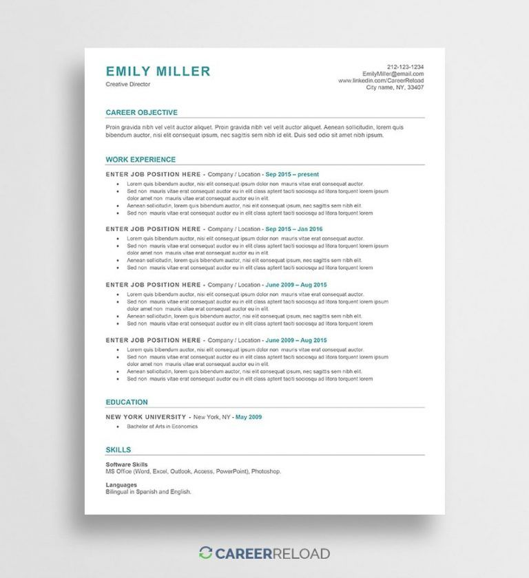 Ats Friendly Resume Template Free Resume Template Word Resume