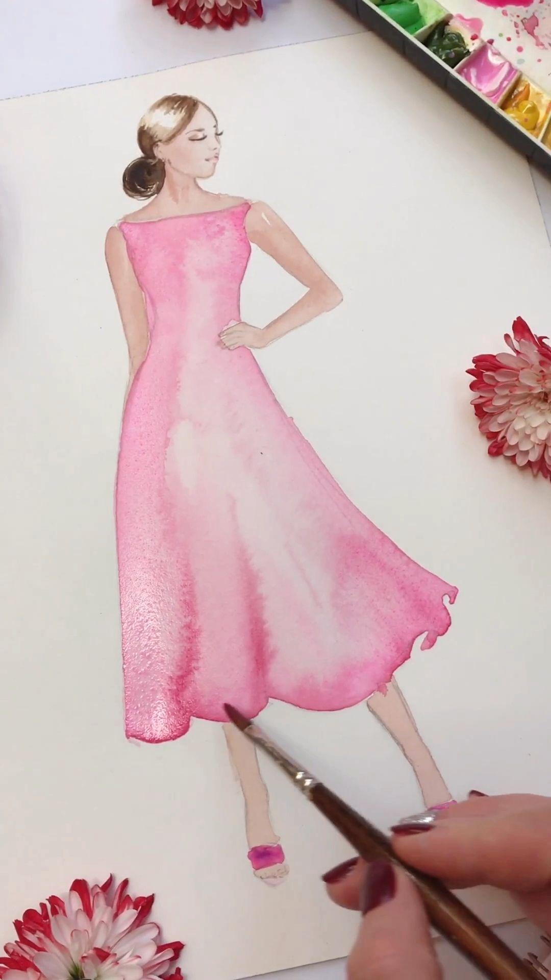 Photo of Watercolor Fashion Illustration, art tutorial