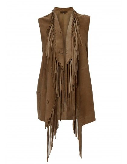 Vest with fringes in Boho-Chic style. Camel color. Made in lamb suede leather.