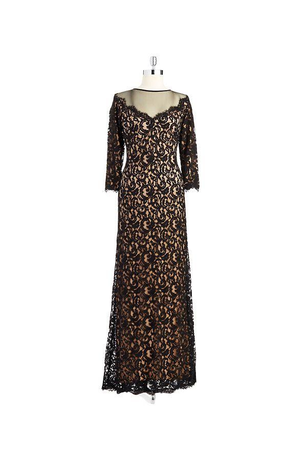 Tadashi Shoji Lace Overlay Gown Black