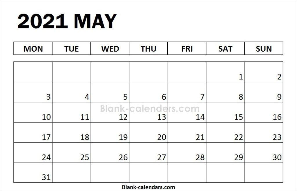 Excel Blank May Calendar 2021 Template Print Calendar February