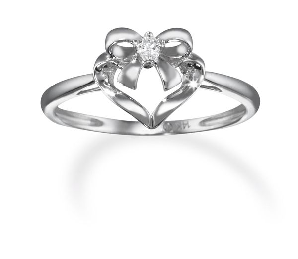 14k White Gold Diamond Bow and Heart Promise Ring only $249 00