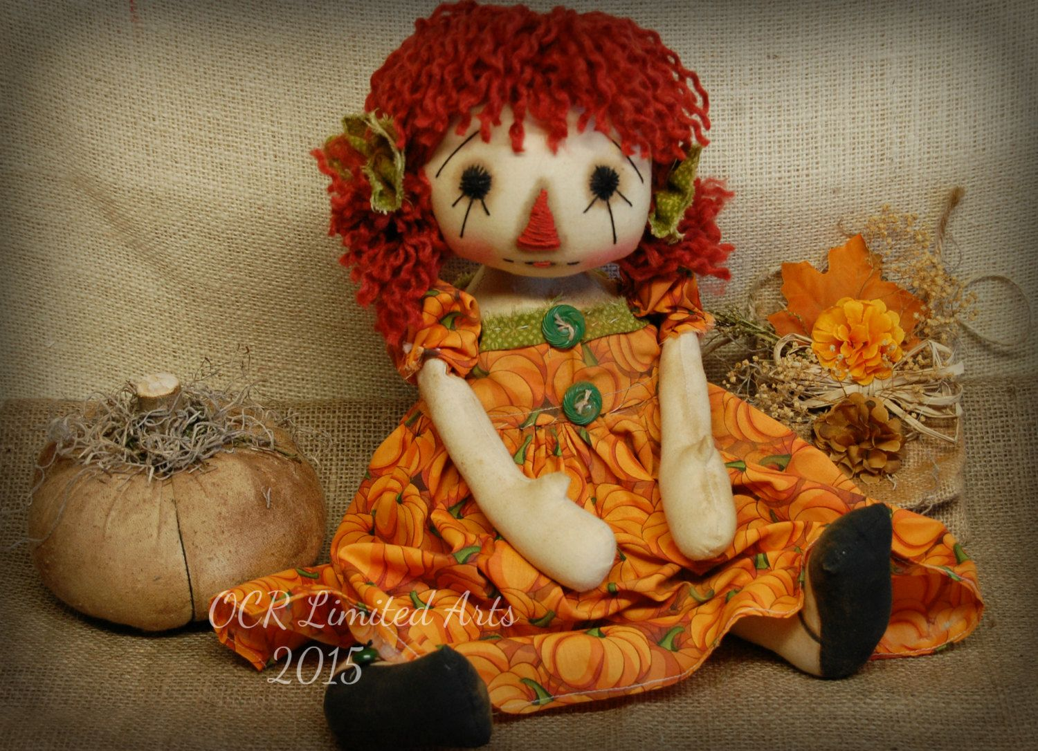 Primitive Folk Art Raggedy Autumn Ann Pumpkin big doll Fall Autumn - Primitive Halloween Decor