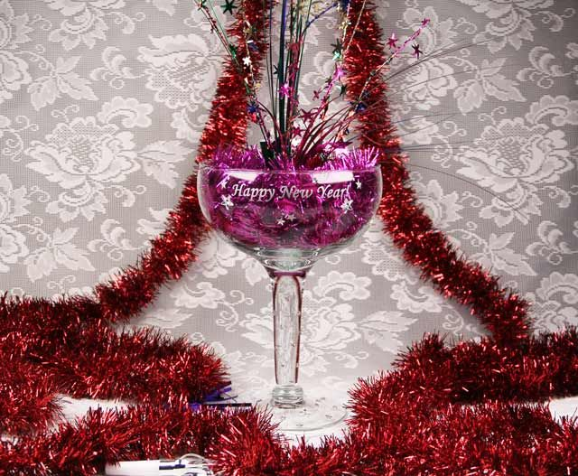 Happy new year champagne glass centerpiece we found this