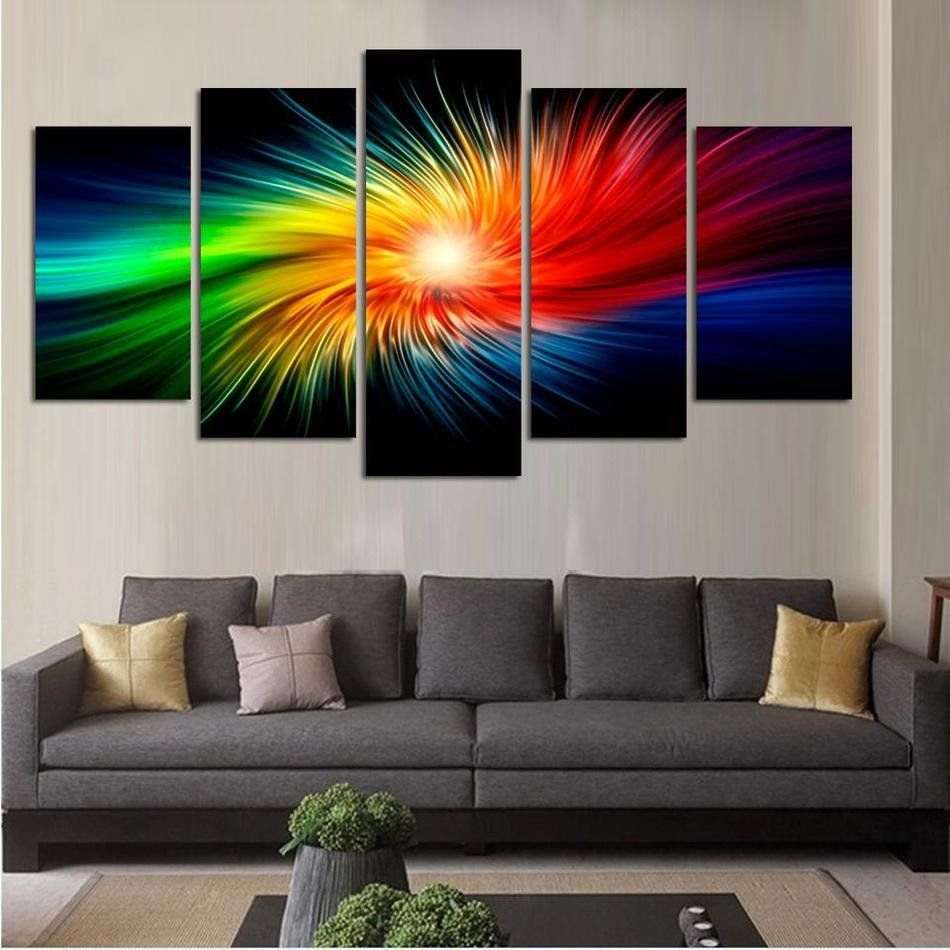 Modern Art Paintings For Living Room Color Painting Canvas Modern 3d 5 Piece Abstract Wall Art Oil