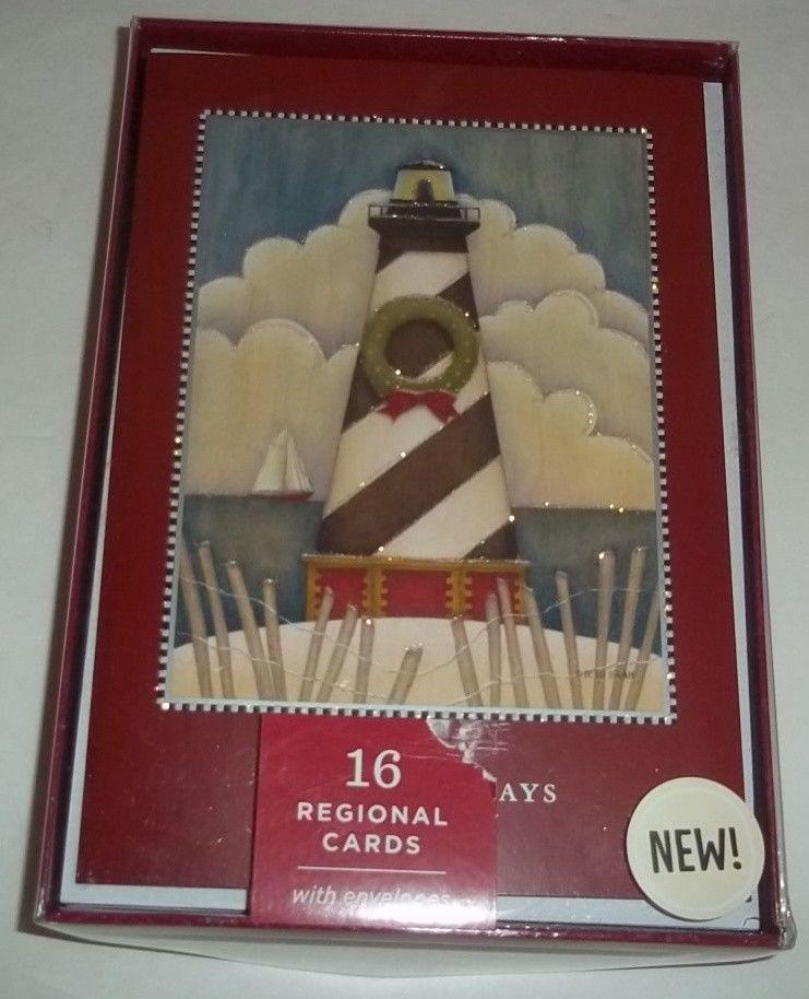 Hallmark Boxed Christmas Cards Image Arts Lighthouse Set 16 New ...