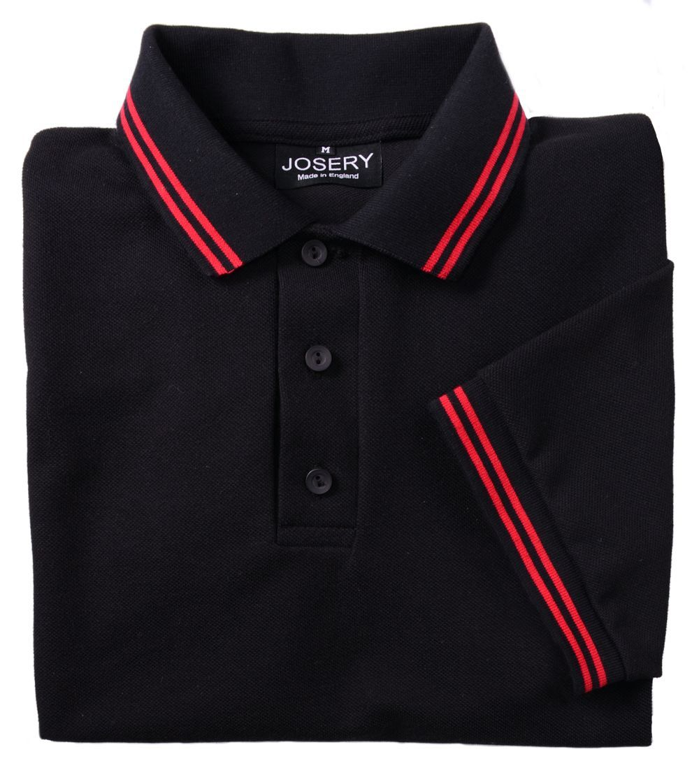 Black t shirt red collar - Black Polo Shirt With Double Red Stripes To Collar And Cuffs Available In Men S Sizes