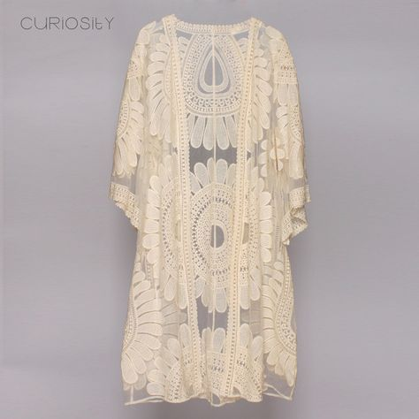 5b6ff0ca70b ... Womens Fashion. Sunflower Kimono Cover up Summer Cardigan floral  Crochet Embroidery Long Kimono and Half Sleeves