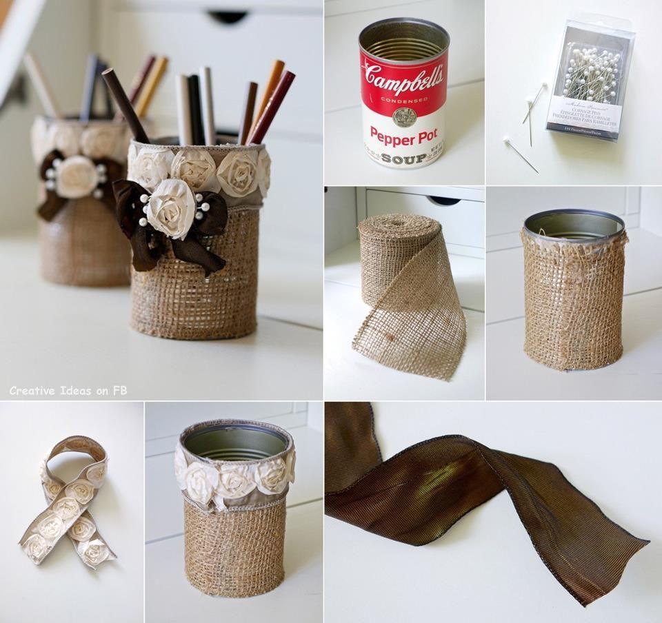 Amazing Creativity: Creative Ideas Shabby Chic Burlap Pencil Holder ...