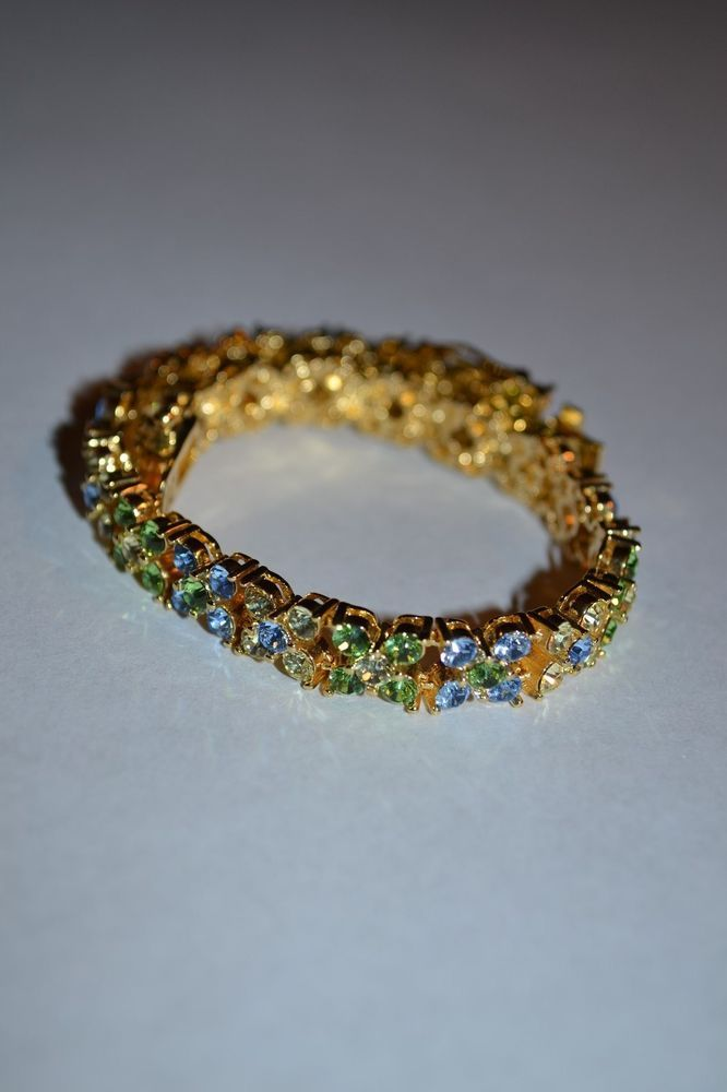 Gold and multicolored crystal tennis bracelet