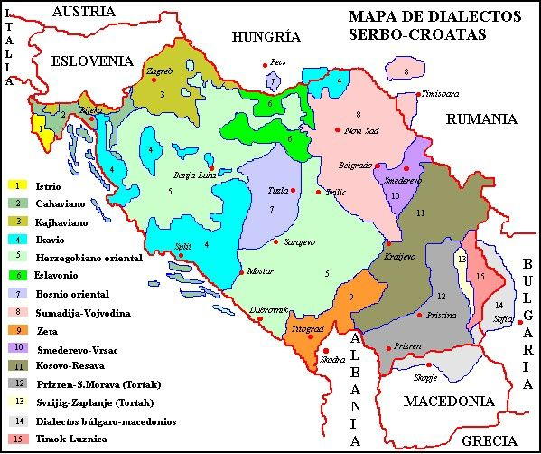 Serbocroatian dialects in the former Yugoslavia. Nowadays