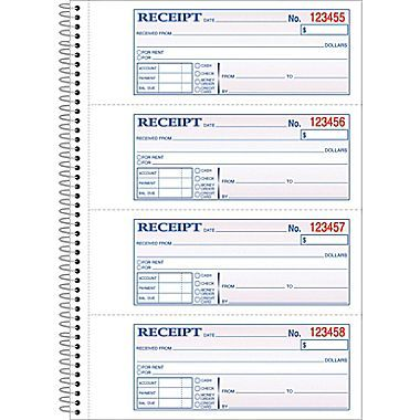 Adams® Carbonless Money Rent Receipt Books, 7-5 8 - book receipt format