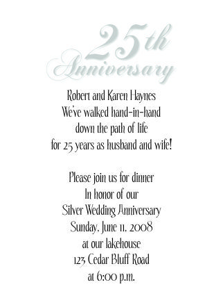 Image result for 25th anniversary Silver 25th Wedding - how to write a invitation letter for dinner