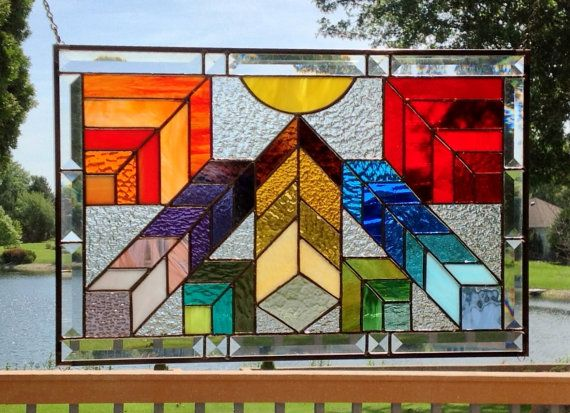 Stained glass window panel Arts and crafts rainbow by SGHovel
