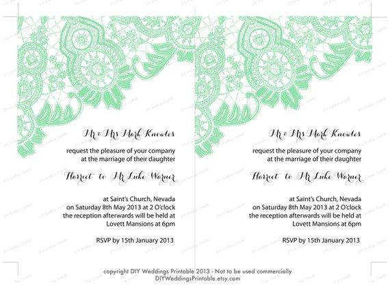 DIY Wedding Invitation Template Editable Mint Green Antique Lace