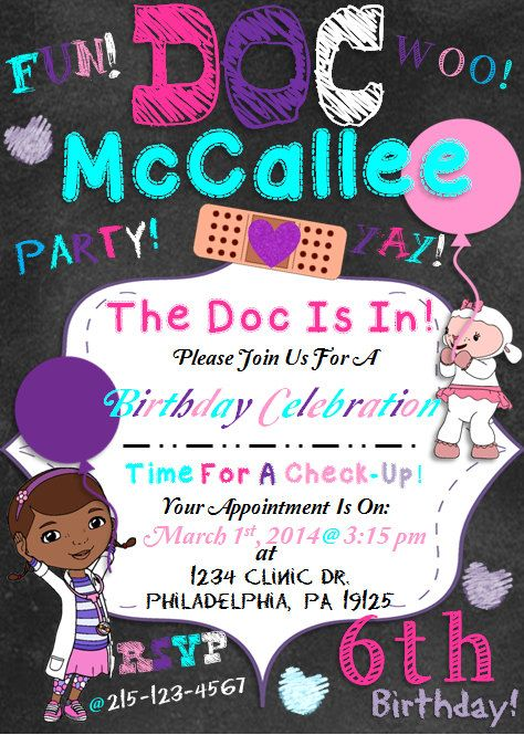 Doc McStuffins Invitation By NaVellaPartyBoutique On Etsy Bday Party Ideas 4th Birthday Parties