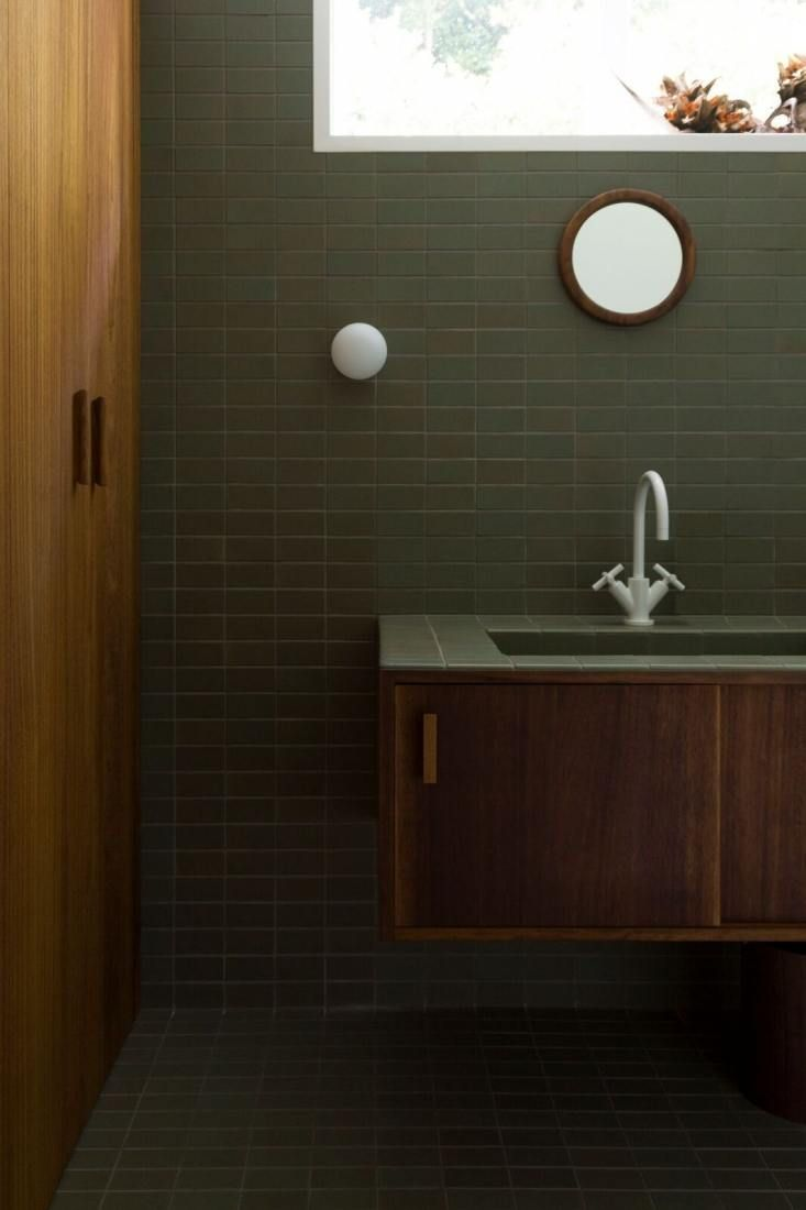 Bathroom Of The Week Two Bath Remodels With Bold Green Tile In Auckland Remodelista Bathroom Sink Design Modern Bathroom Sink Floating Bathroom Sink