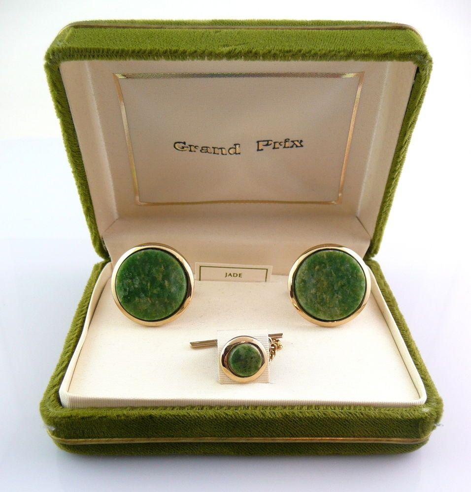 Vintage 1950s 60s SWANK Goldtone & Genuine Jade CUFFLINKS & TIE TAC in Orig Box #SwankGrandPrix