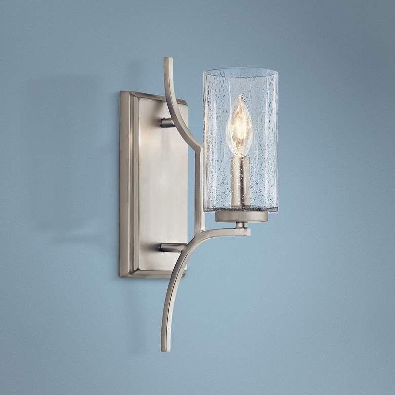 Kichler Vara 14 1 2 High Brushed Nickel Wall Sconce 43y05 Lamps Plus Wall Sconces Sconces Bathroom Wall Sconces