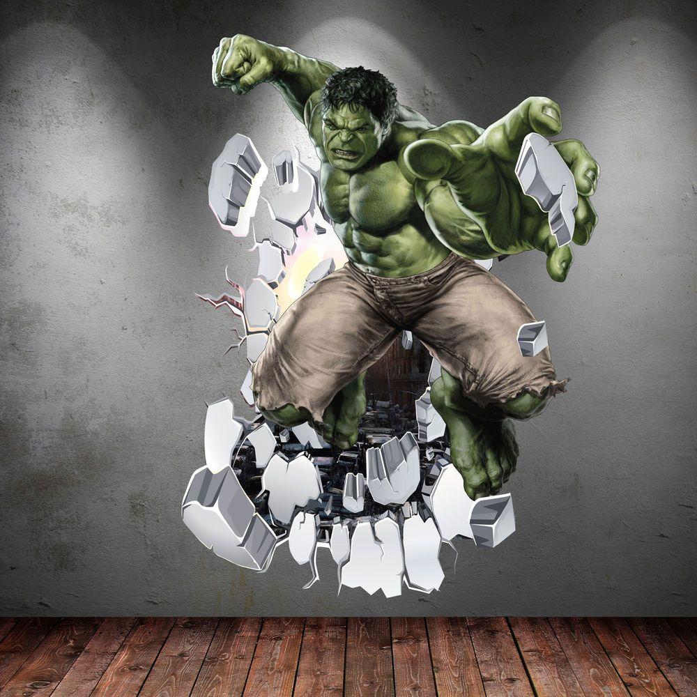 Best Incredible Hulk 3D Avengers Multi Colour Wall Art Sticker 400 x 300