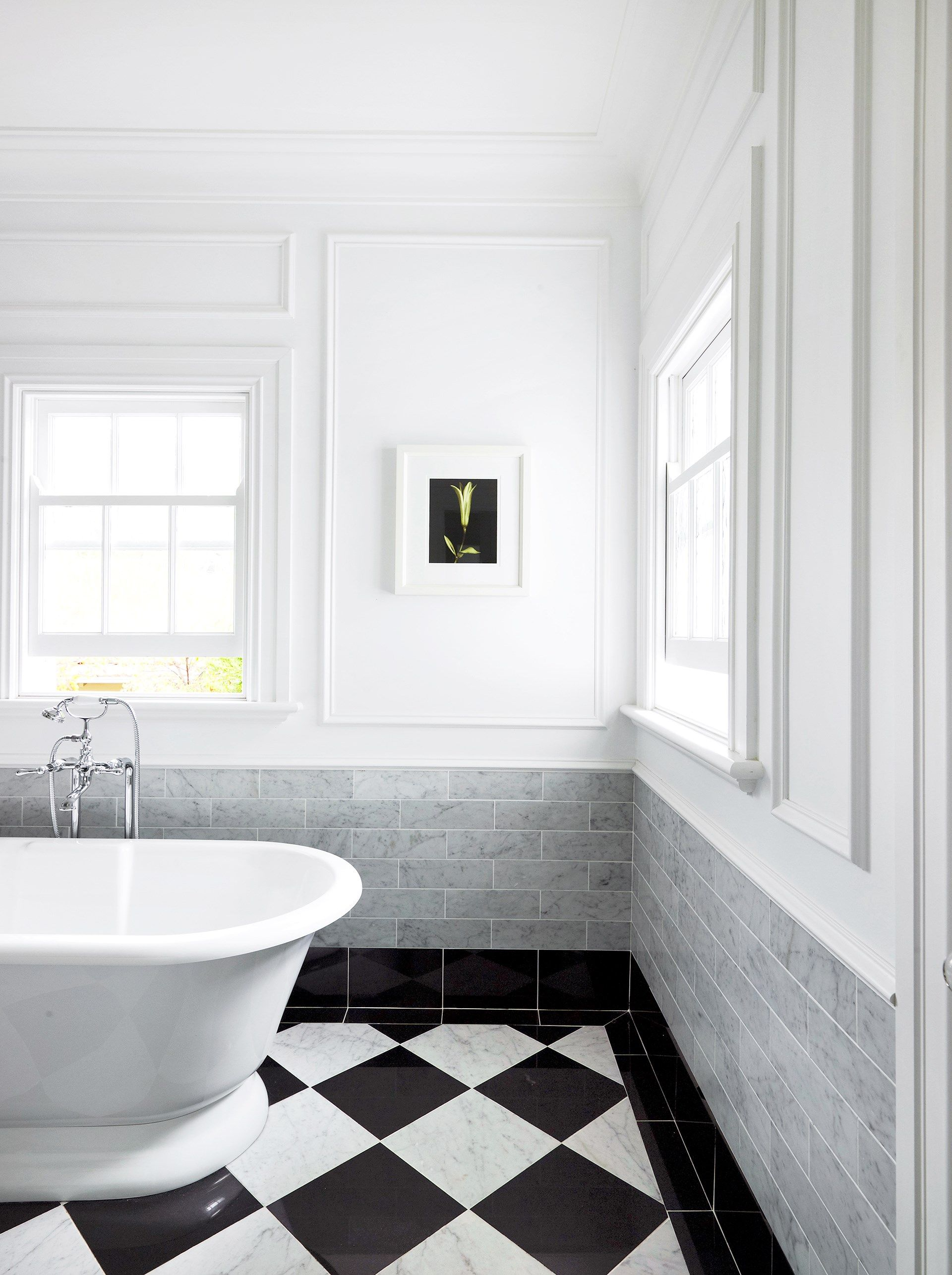Luxe Bathroom Grey Black And White Black And White Tiles Bathroom Classic Bathroom Design Classic Bathroom
