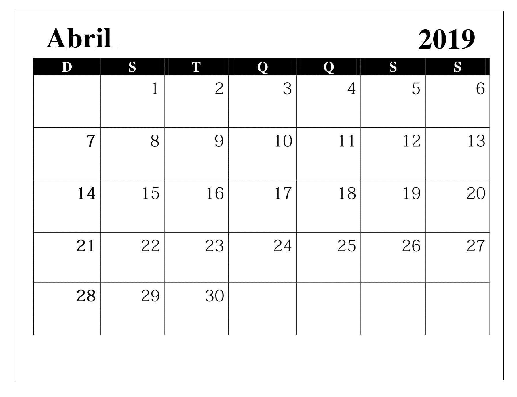Calendario 2o19.Calendario 2019 Abril Calendario Abril 2019 Imprimir