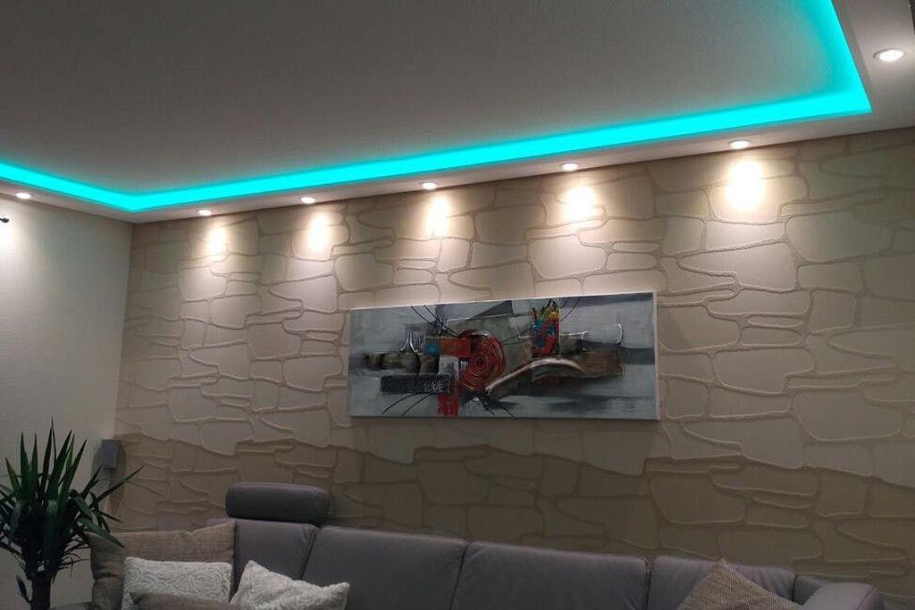 Beispiel 1 Indirektes Licht An Wand Und Decke Im Wohnzimmer Mit Dem Lichtprofil Wdml 200b Pr Aus Hartschaum In 2020 Indirect Lighting