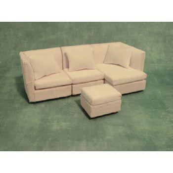White Modern Corner Sofa Sofas Sofas & Armchairs Doll House