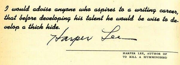 Harper Lee writing advice.