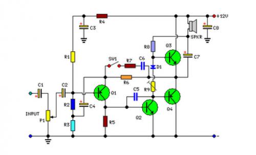 2 Watt Audio Amplifier Circuit Diagram Audio Pinterest Audio