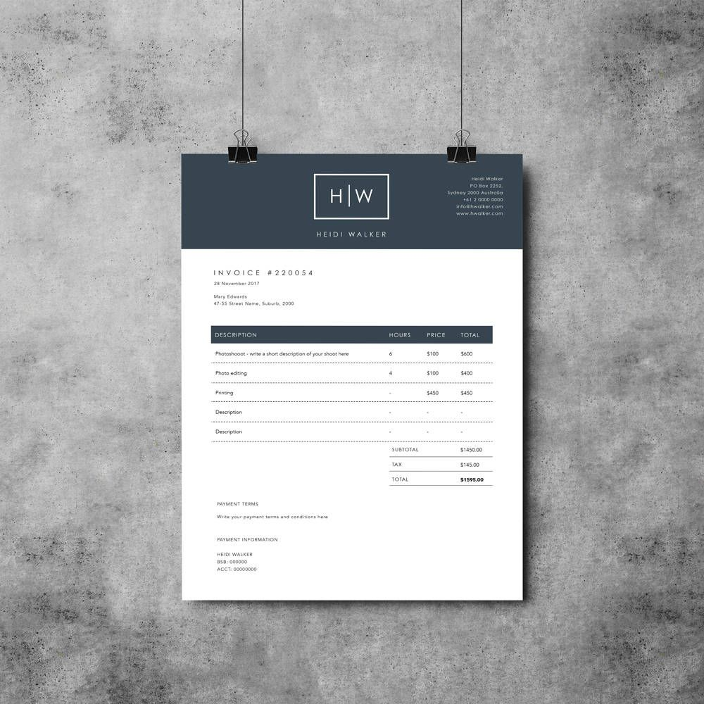 Photographer Invoice Template Invoice Design Receipt Template Ms Word Photoshop Invoice Design Invoice Design Template Invoice Template