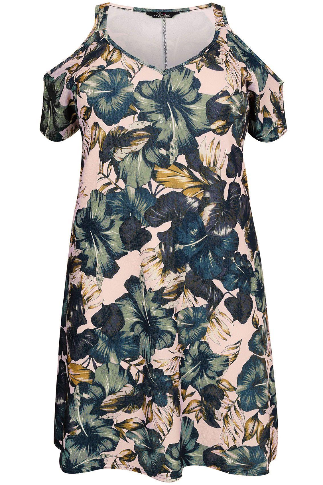 Blush Pink & Green Leaf Print Cold Shoulder Swing Dress