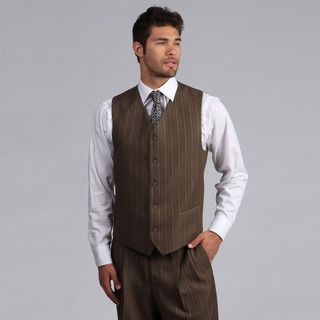 Lucelli Men's Mocha Pin Stripes Vested 3 Button Suit | Overstock.com