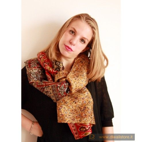 miglior sito web 98a33 a3d4a Stola indiana in seta di sari doublefaces color bronzo ...