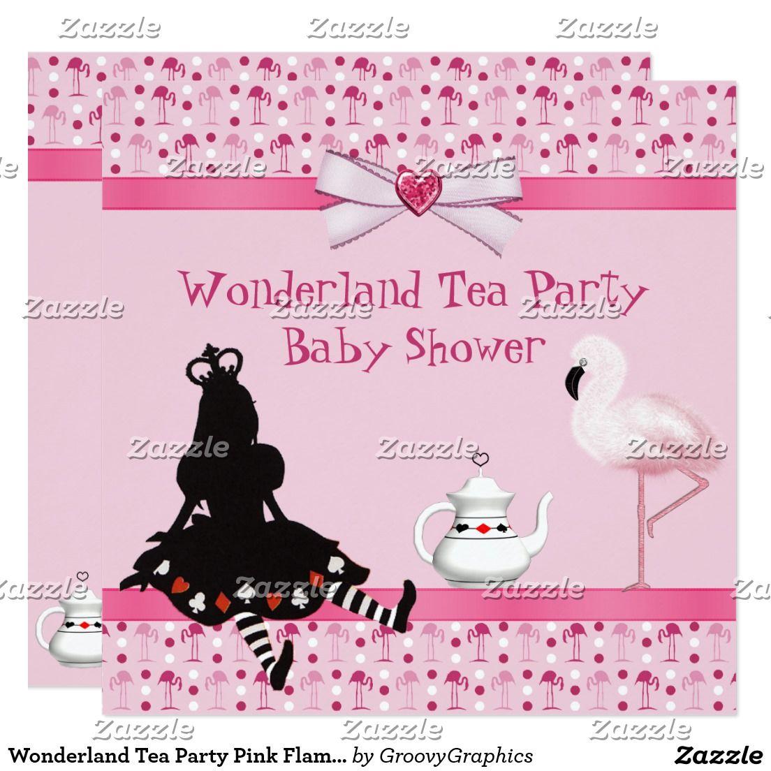 wonderland tea party pink flamingos baby shower card | pink, Baby shower invitations