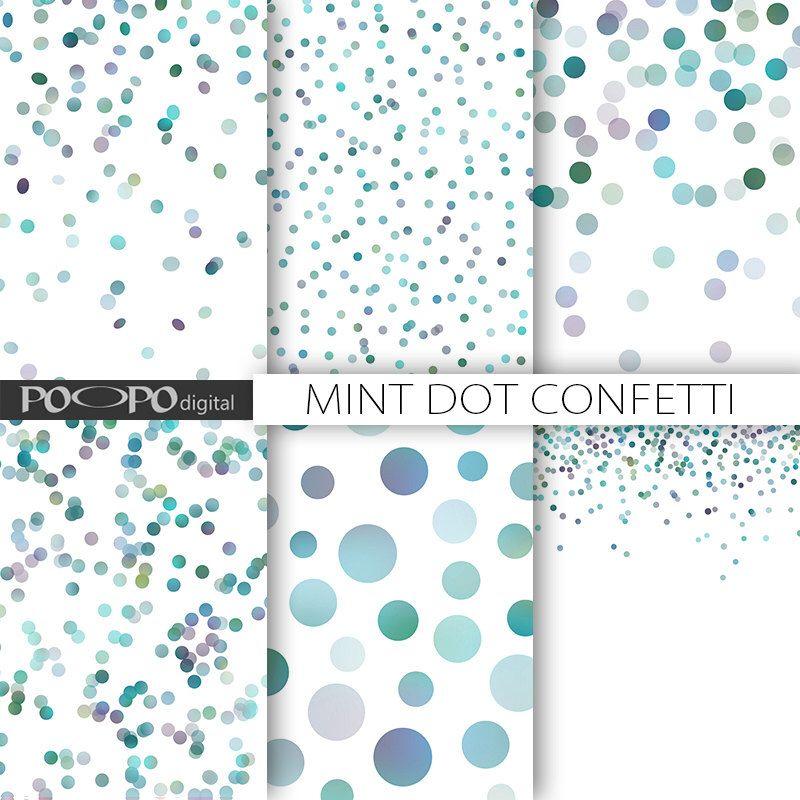 Minze Punkt digitalem Papier blau grün Baby Dusche Punkte ...