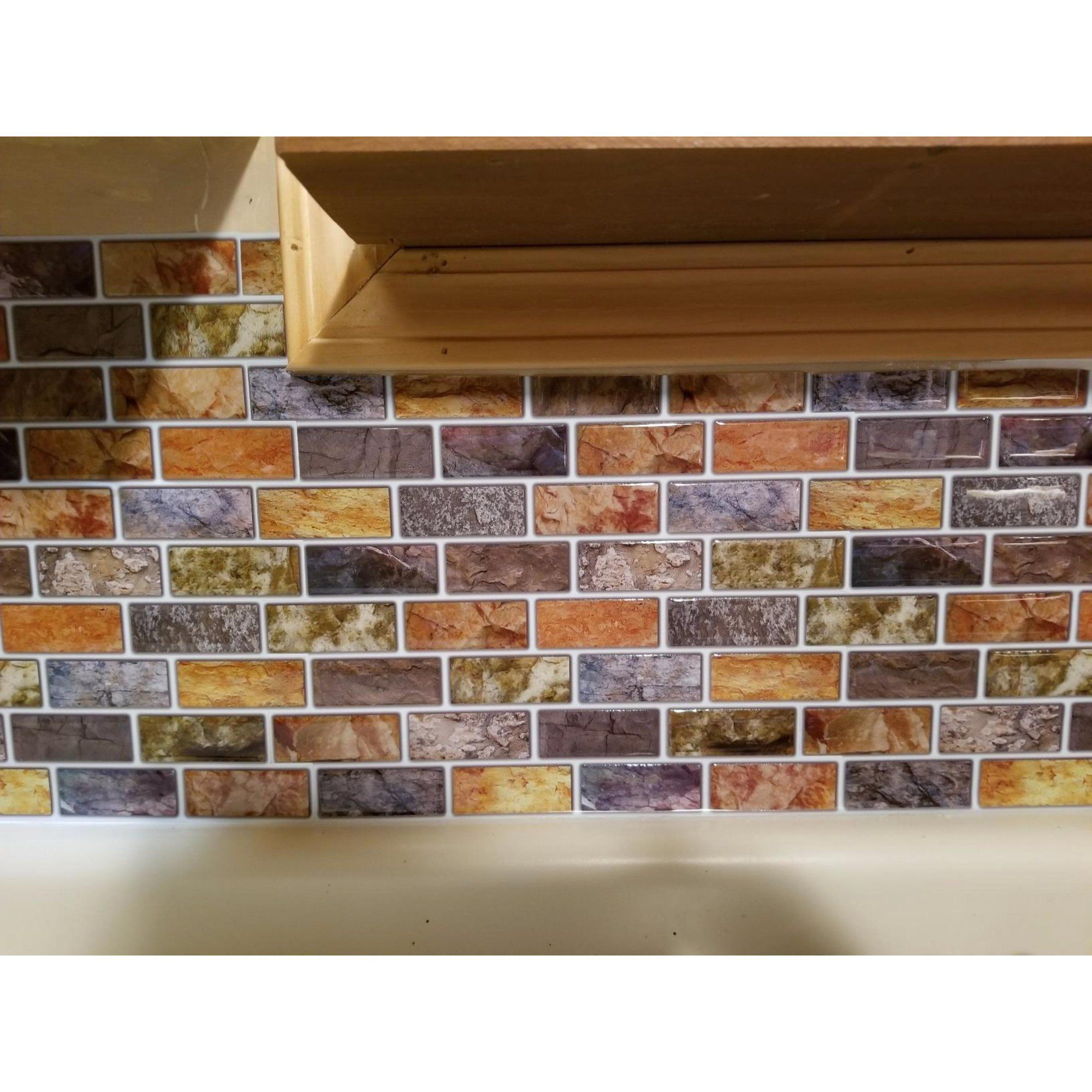 Art3d 10 Sheet Peel Stick Kitchen Backsplash Sticker 12 X 12 Faux Ceramic Tile Design Walmart Com In 2020 Stick On Tiles Peel And Stick Tile Peel Stick Backsplash