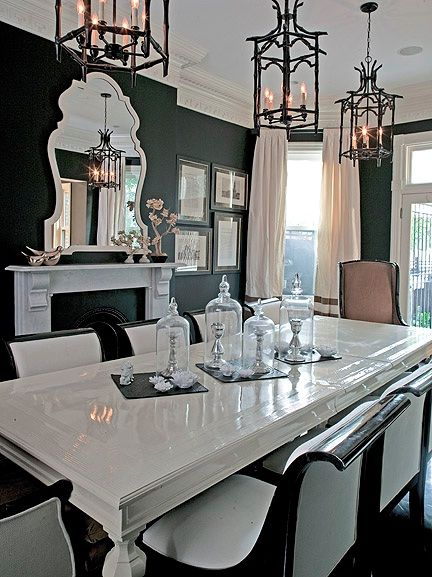 I Love Everything About The Room White Black Table Setting Is Awesome Huge Mirror Mirror Dining Room Beautiful Dining Rooms Black And White Dining Room