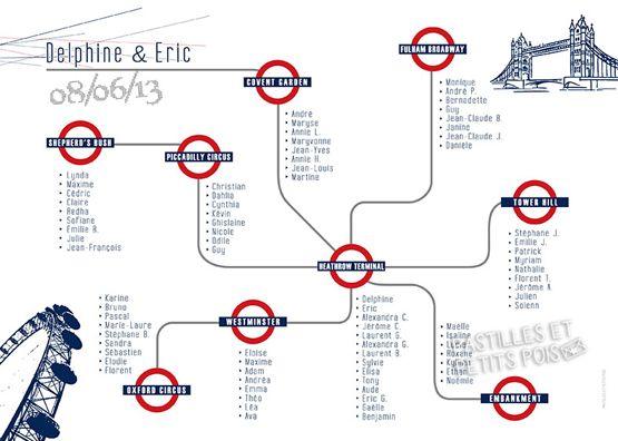 Affiche plan de tables mariage papeterie mariage pinterest ligne metro plan de table - Plan de table mariage en ligne ...