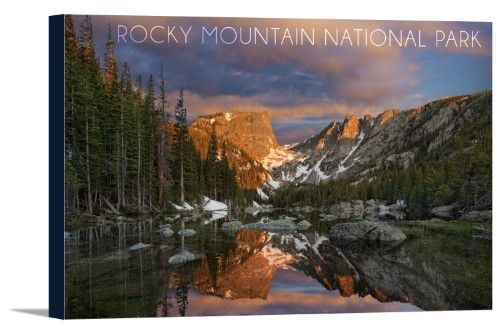 Rocky Mountain National Park, Colorado - Dream Lake Sunset - Lantern Press Photography (36x24 Gallery Wrapped Stretched Canvas), Multi