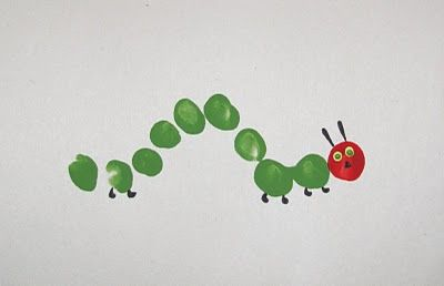 Very Hungry Caterpillar Fingerprint Craft – Hungry Caterpillar Birthday Card